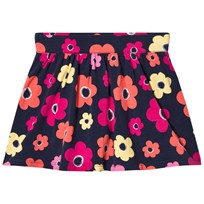 Lands End Multi flower Gathered Pattern Skirt Navy 8AE