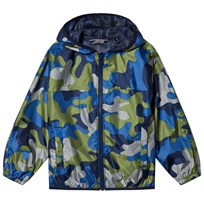 Lands End Waterproof Printed Rain Jacket in Deep Sea Camo 7MR
