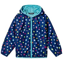 Lands End Navy Waterproof Jacket with Multi Coloured Spots 7IQ