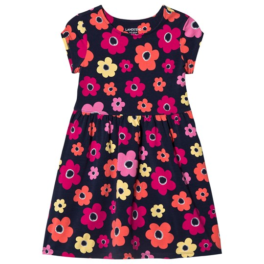 Lands' End Multi Flower Gathered Waist Knit Dress Navy 8AE