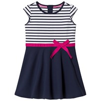 Lands End Navy Striped Short Sleeve Pont Dress With Pink Ribbon 8AG