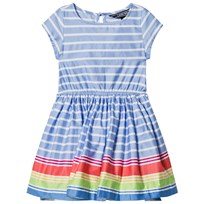 Lands End Multi Coloured Striped Woven Twirl Dress HAX