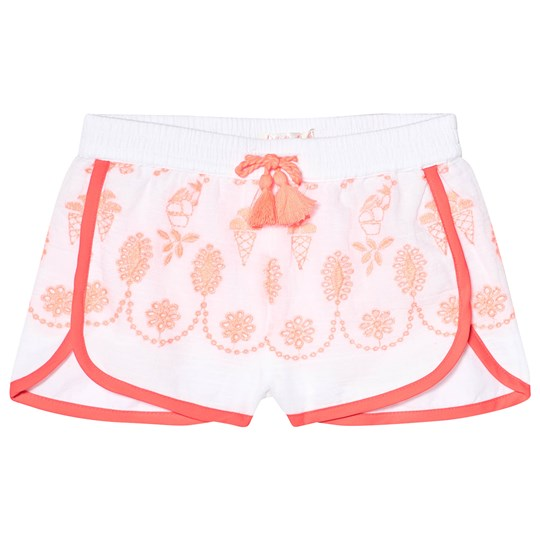 Billieblush Embroidered Cotton Shorts White and Pink Z40