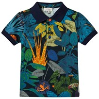 Paul Smith Junior Navy All Over Tropical Print Polo 492