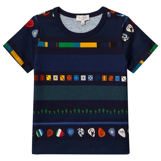 Paul Smith Junior Navy Multi Print Plectrum , Cactus and Dice Stripe Tee 492