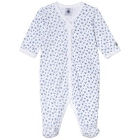 Petit Bateau Floral Footed Baby Body White and Blue