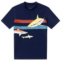 Lands End Navy Multi Shark amd Stripe Graphic Rashguard APU