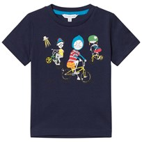 Little Marc Jacobs Navy Mr Marc and Bike Friends Print Tee 83D