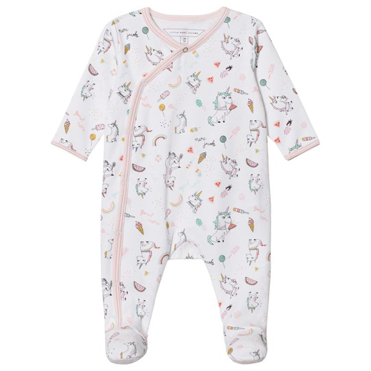 Little Marc Jacobs White and Pink All Over Unicorn Print Babygrow N54