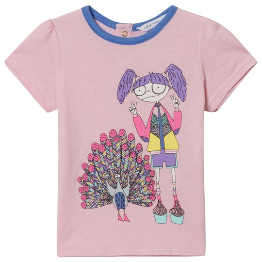 Little Marc Jacobs Pink Miss Marc and Peacock Print Tee 458