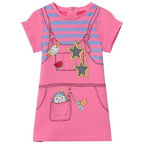 Little Marc Jacobs Fuchsia Trompe L´Oeil Pinafore Print Jersey Dress 468