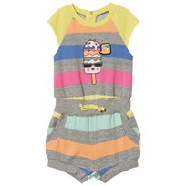 Little Marc Jacobs Grey Marl and Rainbow Stripe Lolly Print Playsuit Z41