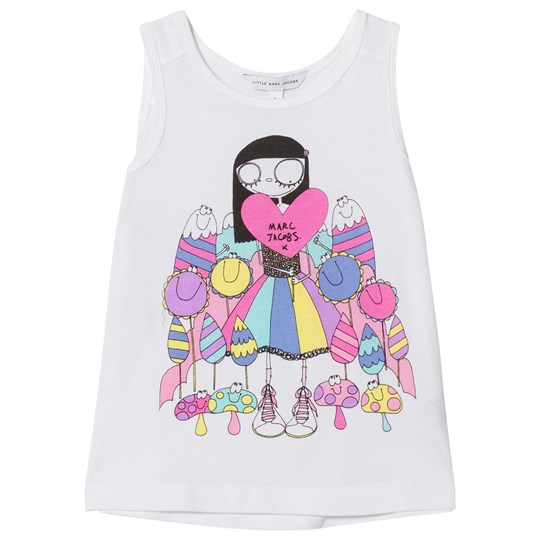 Little Marc Jacobs Miss Marc and Miss Marc and Sweeties Print Vest Top White 10B