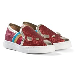 The Marc Jacobs Red Glitter Mouse Slip On Trainers
