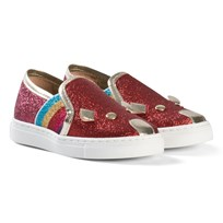 Little Marc Jacobs Red Glitter Mouse Slip On Trainers X74