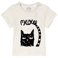 Burberry White Mini Meow Cat Print Tee NATURAL MELANGE