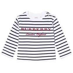 Burberry Navy and White Mini Peggy Stripe Tee