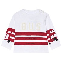 Burberry White and Red Stripes Mini Herbie Angled Seam Tee White