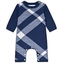 Burberry Blue Ashley Check Onesie Cobalt Blue