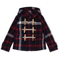 Burberry Navy and Red Rosemead Oversized Duffle Coat NAVY/BLACK