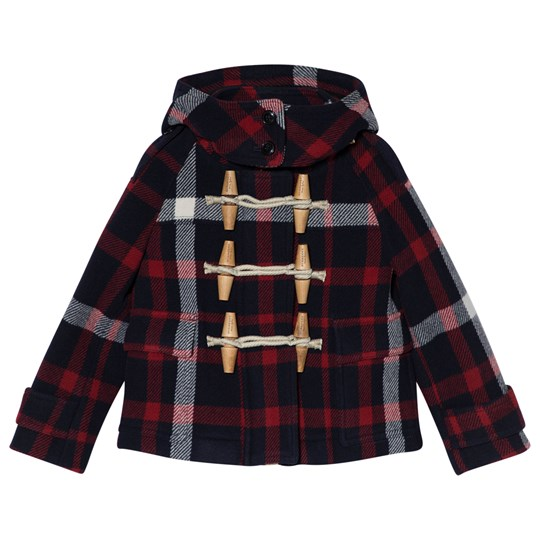 Burberry Navy and Red Rosemead Oversized Duffle Coat