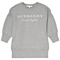 Burberry Grey Branded Mini Soure Sweat Dress Grey Melange