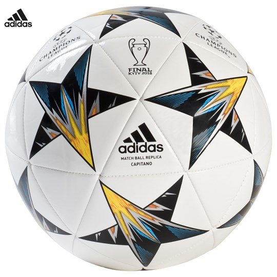 adidas Performance UEFA Champions League Finale 18 Capitano Football Top:WHITE/BLACK/SOLAR YELLOW/BLUE Bottom:CLEAR AQU