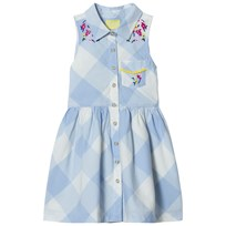 Tom Joule Blue Gingham and Floral Shirt Dress Skyblue Gingham