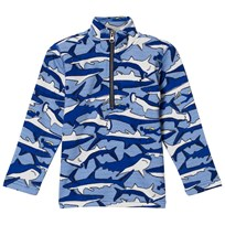 Tom Joule Blue Shark and Stripe Printed 1/2 Zip Sweatshirt Shark Dive Stripe
