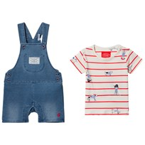 Tom Joule Blue Jersey Denim Dungaree and Stripe Tee Set Denim
