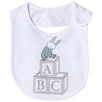 Livly Snap Bib Blue Bunny Placement White