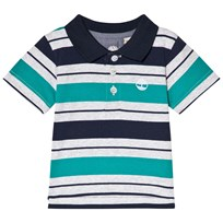 Timberland Green and Navy Stripe Logo Polo 703