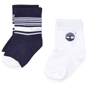 Image of Timberland 2 Pack of Navy and White Branded Socks 6 months (2958238437)