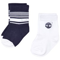 Timberland 2 Pack of Navy and White Branded Socks V41