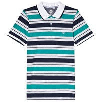 Timberland Navy and Green Stripe Polo 703