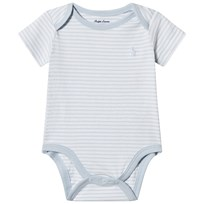 Ralph Lauren Striped Jersey Baby Body Beryl Blue and White 002