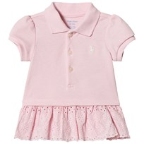 Ralph Lauren Pink Pique Polo Dress with Eyelet Detail 001