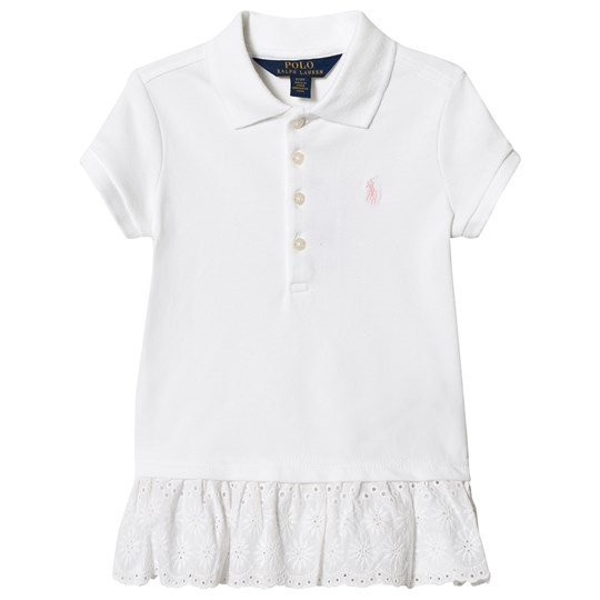 Ralph Lauren Eyelet-Hem Mesh Polo Dress White 003