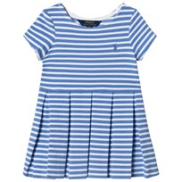 Ralph Lauren Striped Ponte Pleated Dress Harbor Island Blue and White 003