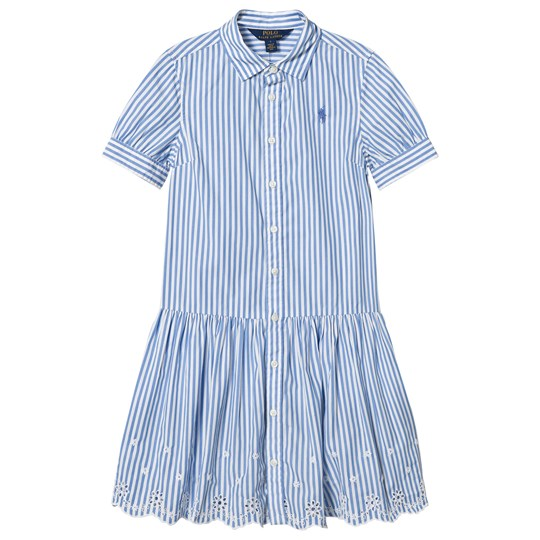 Ralph Lauren Blue and White Bengal Stripe Dress with Eyelet Hem 001