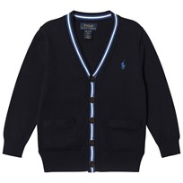 Ralph Lauren Navy and Grey Cotton Cardigan with Small Pony 001