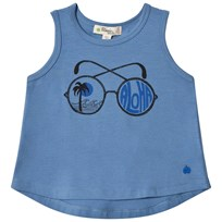 The Bonnie Mob SLEEVELESS T SHIRT WITH PLACED SUNNIES PRINT BLUE PLACED SUNNIES BLUE PLACED SUNNIES