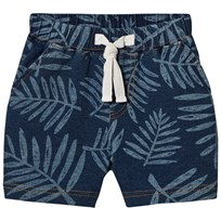 The Bonnie Mob Stretch Denim Terry Shorts with Palm Print Palm Print