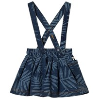 The Bonnie Mob Stretch Denim Terry Flared Skirt with Palm Print Palm Print