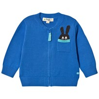 The Bonnie Mob The Zip Cardigan with Intarsia Bunny Pocket Detail Blue Blue