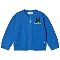 The Bonnie Mob Zip Cardigan with Intarsia Bunny Pocket Detail Blue Blue