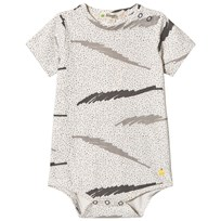 The Bonnie Mob Printed Short Sleeve Baby Body Grey Scribble Waves Print GREY SCRIBBLE WAVES PRINT