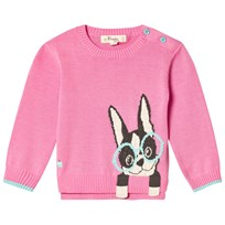 The Bonnie Mob Surf Dog Intarsia Sweater Pink Pink