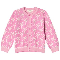 The Bonnie Mob Knitted Palm Tree Jacquard Cardigan Pink