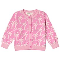 The Bonnie Mob Knitted Palm Tree Jaquard Cardigan Pink Pinks